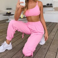 Woman 2 Pieces Clothes Sets Sexy Spaghetti Strap Cropped Vest With Casual Elastic Waist Long Pants Fashion Ladies Jogging Women's Tracksuits