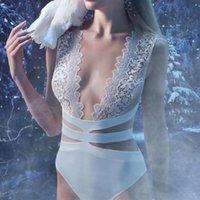 Seakyla сексуальные белые кружева боди женщины глубоко v повязка боди лето без рукавов плавать клуб вечеринка bodycon 2021 женские комбинезоны комбинезоны