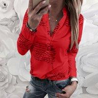 Женская блузка V шеи буквы печати кнопка с длинным рукавом рубашка повседневная летняя туника топы женские вершины и блузки Blusss x0521