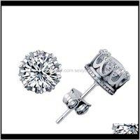 Stud Natural Crystal Zircon Studs Gold Sier Crown Ear Nails Wedding Jewelry Statement Fashion Female Trinket Earrings L7Euu 5Jcr7
