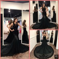 2021 Vestido De Festa black tulle mermaid prom dresses sequined lace appliques sleeveless backless sexy formal party gowns court train evening dress on sale
