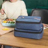 Öğle yemeği çantası, pürüzsüz çift fermuar ile kare düz stil Yalıtım fonksiyonu taşınabilir saklama kutusu çanta