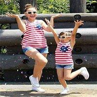 Madre e hijo niños hija Mamá sin mangas camiseta camiseta chaleco verano trajes familiares coincidencia ropa americana bandera rayas a rayas padres top tee g63ey3z