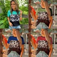 2021 Femmes d'automne Femmes Léopard imprimé à manches courtes T-shirt chemisier mode mode dames patchwork couleurs vrac top tee vêtements S-3XL GG41YN4Z