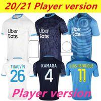نسخة لاعب Marseille Soccer Jersey Olympique DE 20 21 OM مايلوت أطباق القدم Thauvin Benedetto Kamara Payet Shirts 999