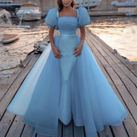 Shining Sequined Evening Dresses with detachable Skirt Modest African Saudi Arabia Beads Women Formal Prom Dress Backless Celebrity Robe De Soiree
