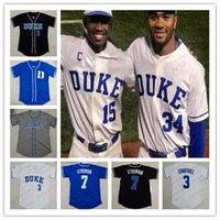 Custom Duke Blue Devils College Baseball 2 Zack Kone 3 Chris Crabtree Qualquer Nome Número Número Branco Royal Azul Azul Preto Gray Jerseys S-4XL