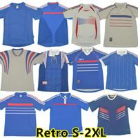 1998 versione retrò Francia Zidane Soccer Jersey 96 98 02 04 06 Henry Maillot de piede 1982 1984 Camicia 2000 2010 Home Trezeguet Uniform uniforme da calcio