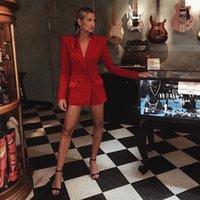 Women's Suits & Blazers HIGH STREET Stylish 2021 Classic Designer Blazer Notched Satin Collar Red Long Jacket