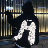 Латен Ангел на вашей спине напечатанный напечатанный стиль уличный стиль толстые унисекс толстовки зима теплая пуловерное пальто женщины панк женская толстовка