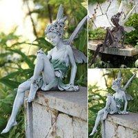 Tudor e Turek Seduta Statua Fata Statua Giardino Ornamento Resina Artigianato Paesaggistica Paesaggistica Decorazione Giardino Domestico Decorazione da giardino all'aperto