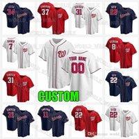 Washington 22 Juan Soto Nationals Jersey 31 Max Scherzer 37 Stephen Strasburg 7 Trenea Turner Carter Kieboom 2021 Jerseys de béisbol personalizados