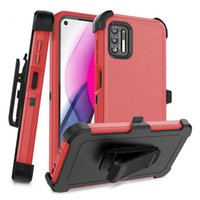 3 in 1 Hybrid Armor Cases Heavy Duty With Belt Holster Clip Shockproof Robot Case For MOTO G Stylus Play 2021 One 5G ACE G10 E7 Power LG K22 Stylo 6 7 4G K53 Google Pixel 4A 5