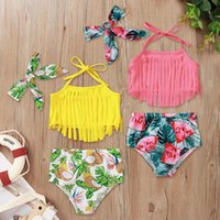 One-Pieces Three Piece Swimsuit Colorful Summer Baby Girls Suspended Tassels Swimming Tops Shorts Headband Set Bathing Suit