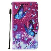 Роскошная напечатанная напечатанная напечатанная бабочка нарисованная кожаный кожаный кошелек для телефона с помощью слота для кредитной карты Flip Cook для Samsung Note20ULTRA XS21 5G S20PLUS M11 XCover5 A50S
