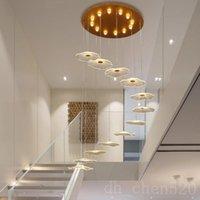 Dönen merdiven için avize modern led asılı süspansiyon lambaları Dubleks Apartment Hotel Villa Lobi Işıkları LuminAire