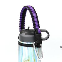 Handle rope Flask Water Bottle carrier survival Strap cord with Safety Ring Wide Mouth Bottles Holder with Carabiner 12oz to 64 oz DHA9450