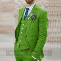 Men's Suits & Blazers Tailored Green Linen Wedding Groom Suit Set Men Jacket Vest Pants 3 Pieces Slim Fit 2021 Formal Marriage Beach Tuxedos