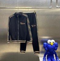 21SS'S Últimas letras de otoño e invierno de la Italia Bordado Punto de Punto de Punto de Punto de Punto Black Pantalón Traje de Hombres Famoso Traje deportivo de alta calidad