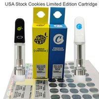 USA Stock Cookies Vapes Carts 0.8ml Vape patroner Atomizer Limited Edition Presentkorg Förpackning Vaporizer Tom Patron 510 Engångspenna Glas Tank Cart