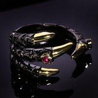 과장된 성격 용 발톱 블랙 골드 텅스텐 링 여성용 입방품 붉은 지르코니아 돌 상감 크리 에이 티브 쥬얼리 결혼식
