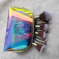 Hot Selling Transparent Crystal Handle Makeup Brush Set Transparent Diamond Makeup Brush Set can with holographic bag