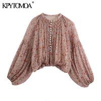 Kpytomoa Kadınlar Moda Paisley Baskı Kırpılmış Bluzlar Vintage Fener Kol Elastik Hem Kadın Gömlek Chic Tops 201202