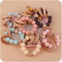 Natural Wooden Ring Teethers for Baby Multi Color Health Care Accessories Infant Fingers Exercise Toys Colorful Silicon Beaded Soother