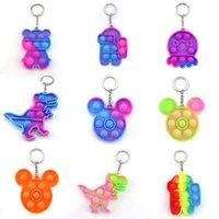 Decompressione Silicone Fidget Toy Keychain Party Favore Semplice Dimple Push Bubble Pop It Rainbow Toys Catena chiave Anti Stress Bolle Portachiavi