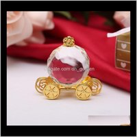 Favor Event Festive Party Supplies Home & Garden Drop Delivery 2021 50Pcs Cinderella Pumpkin In Gold Box Baby Shower Favors Crystal Carriage