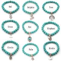 Fashion Turquoise beads bracelets Tree Owl dolphin Cross palm Charm Bracelets For man women Jewelry Accessories wjl2280