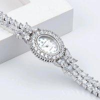 Relojes de pulsera Herhome Qualtiy Elementos de Zircon Elementos de cristal austriaco Reloj de la boda de la boda Joyería de moda hecha con al por mayor