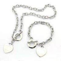 Concepteur amour grand coeur bracelet collier de luxe argent or t bijoux ensembles de bijoux platine cadeau de Noël femme avec la longueur d'emballage de marque bleue peut être personnalisé