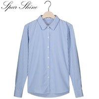 Kadınlar Çizgili Bluz Gömlek Pamuk Çalışma Ofis Gömlek Sparshine Uzun Kollu Yaka Blusas Feminina Tops Kadın Bluzlar