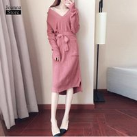 Casual Dresses Sweater Dress Women Plus Size Sexy Vintage Elegant Pink Black Winter Fall Warm V Neck Spring Knitted Tide Clothes