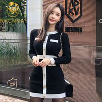Autumn Dress Elegant Vintage Luxury Clothing Evening Party Mini Dress Women Long Sleeve Knitted Black Sexy Ladies Dresses 210515