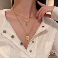 Pendant Necklaces 3PCS SET Fashion Hip Hop Long Chain Necklace Gold Metal Coin For Women Men Jewelry Gifts Punk Accessories
