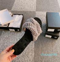 2021Women Designers Flat Slides Sandaler Tofflor Chaoliu Pearl Kvinna Skodfötter Detaljer är oklanderliga import DIY-pärlor, bekväma hemma