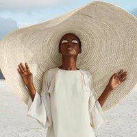 أزياء الصيف المعتاد شاطئ القبعات للنساء 27 سنتيمتر بريم كبير القش قبعة الشمس حماية حزب السفر كاب واسعة