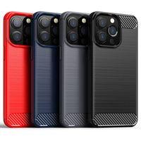 Étui en silicone en caoutchouc en caoutchouc en caoutchouc TPU en fibre de carbone Hybride Protection antichorceuse Housse d'armure robuste brossée pour iPhone 13 Pro Max 12 mini 11 XS XR x 8 7 6 6S Plus SE