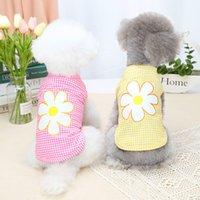 الوردي الكلب كلب الملابس لطيف التطريز زهرة على الملابس طوق فقاعة الأكمام هوديس المتوسطة الصغيرة