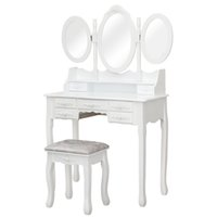 Fch mdf spray pintura sete gavetas de três vezes espelho molho conjunto branco