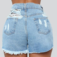 Women's Shorts Female Fashion Casual Summer Cool Women Denim Booty High Waisted Fur-Lined Leg-Openings Plus Size Street Sexy Short Jeans