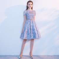 2021 Short Lake Blue Graduation Dresses Scoop Neck Sleeves 3D flower Cocktail Party Gowns Mini Sweet 16 Evening Prom Dress
