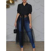 Moda Katı Örgü Combo Tunik Kadınlar Uzun Bluz Gömlek Düğme Yukarı Tül Top Ekleme Elbise kadın Bluzlar Gömlek