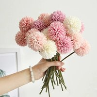 10Pcs Bunch Artificial Flower Bouquet Silk Dandelion Ball Fa...