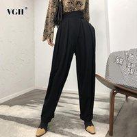 Pantaloni da donna Capris VGH Casual Allentati Figura intera per le donne Tasche ad alta vita Elegante Harem Pant Abbigliamento femminile 2021 Moda marea