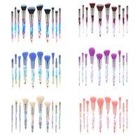 TUOLIDI New design custom Logo 10pcs makeup brush kit Transparent Diamonds Crystal Handle Makeup Brush sets