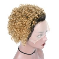 Lace Wigs Short Human Hair Pixie Cut Wig Ombre Blonde Brown Red Color Curly For Women Water Wave 13x1