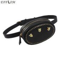 High quality ladies belt bag designer tiger headdress studded leather belt bag ladies 2018 new summer functional chest bag round